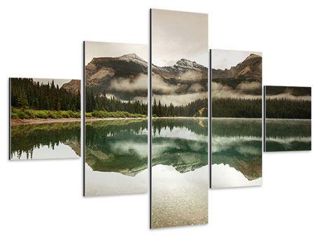 Aluminiumbild 5-teilig Spiegelung im Glacier Nationalpark