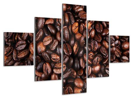 Aluminiumbild 5-teilig Kaffeebohnen in XXL