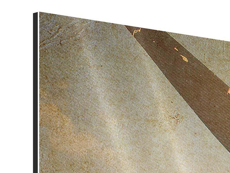 Aluminiumbild 5-teilig Propellerflugzeug im Grungestil