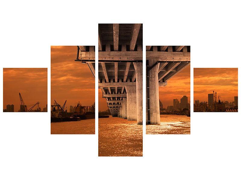 Aluminiumbild 5-teilig Die Brücke