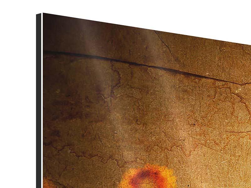 Aluminiumbild 5-teilig Retro-Sonnenblumen