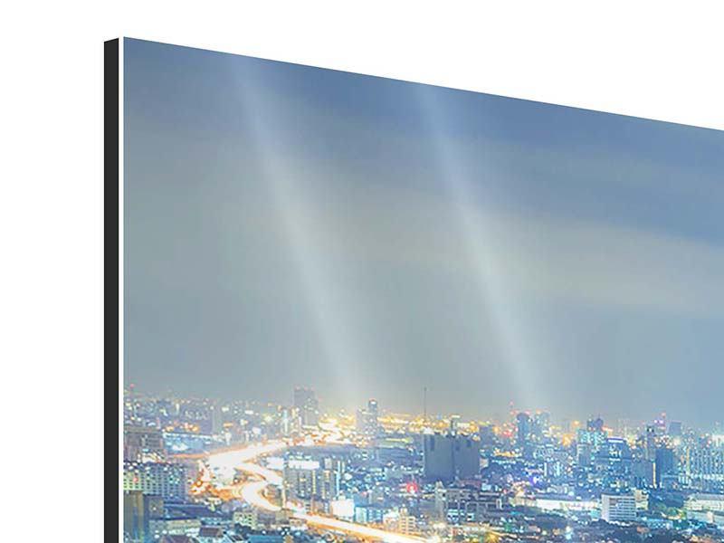 Aluminiumbild 5-teilig Skyline Bangkok im Fieber der Nacht