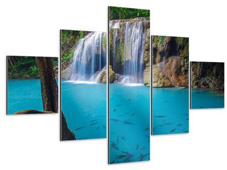 Aluminiumbild 5-teilig Naturerlebnis Wasserfall