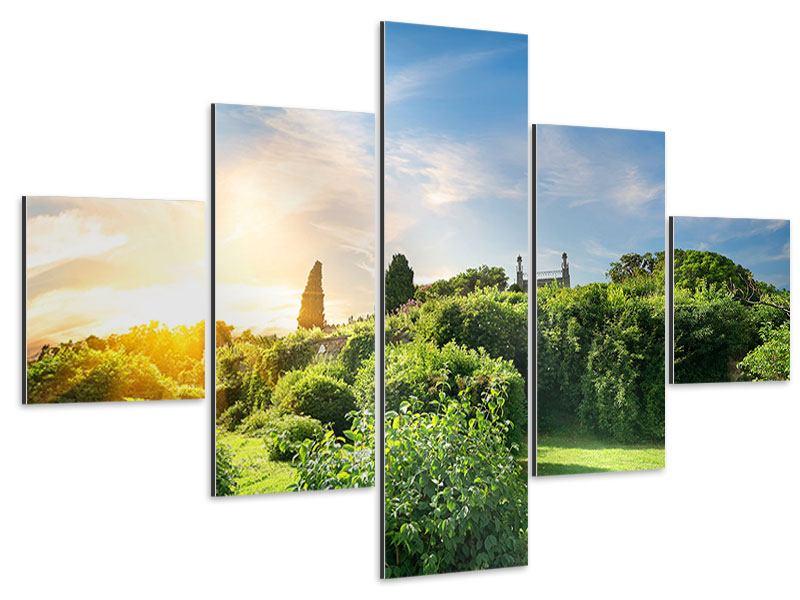 Aluminiumbild 5-teilig Sonnenaufgang im Park