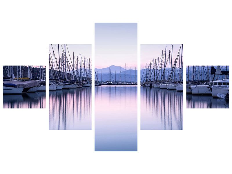 Aluminiumbild 5-teilig Yachthafen