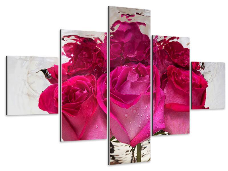 Aluminiumbild 5-teilig Die Rosenspiegelung