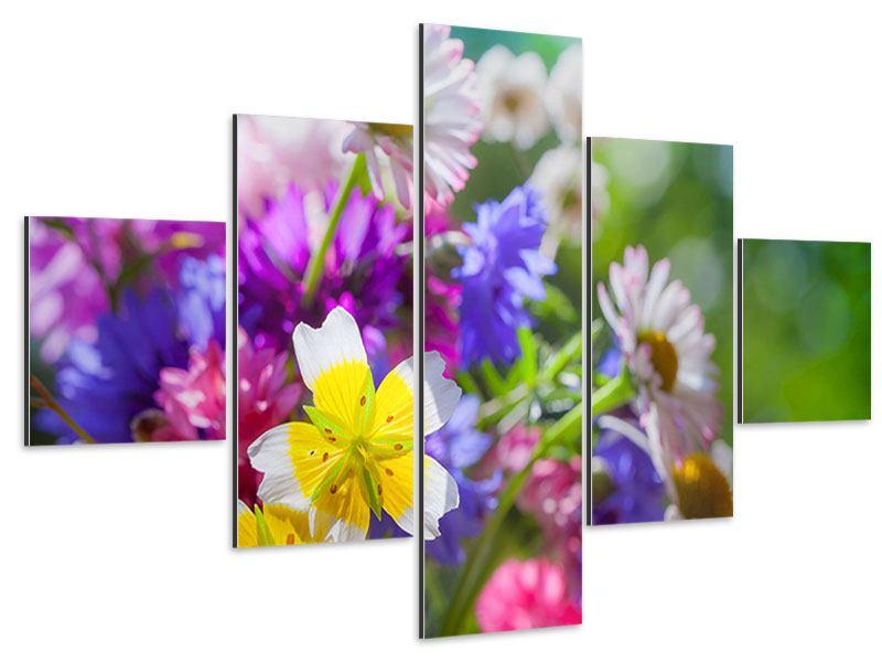 Aluminiumbild 5-teilig XXL Gartenblumen