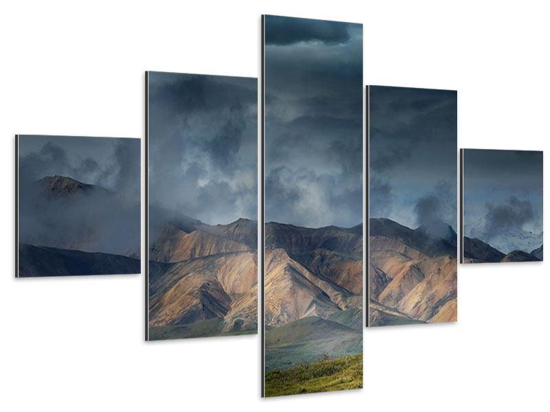 Aluminiumbild 5-teilig Silberstreifen