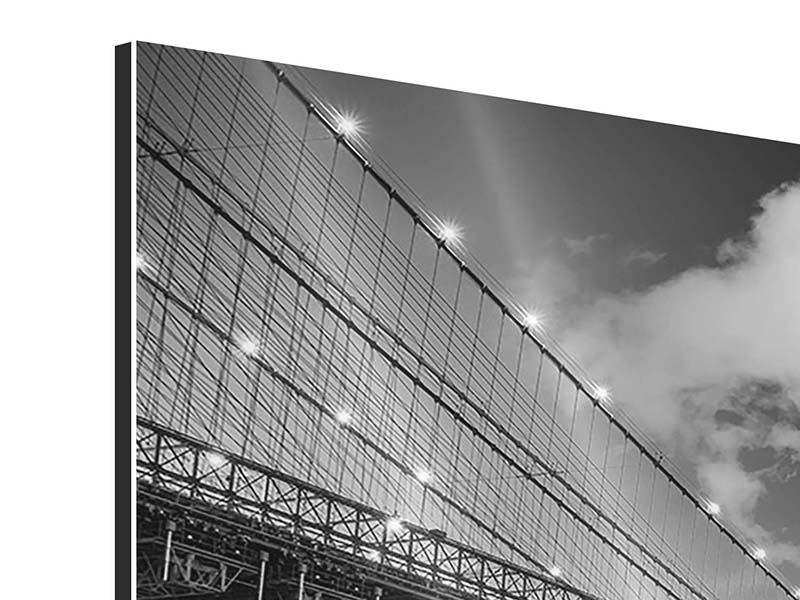 Aluminiumbild 5-teilig Skyline Schwarzweissfotografie Brooklyn Bridge NY