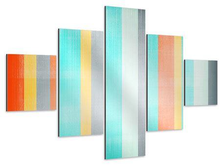 Aluminiumbild 5-teilig Grunge Streifen