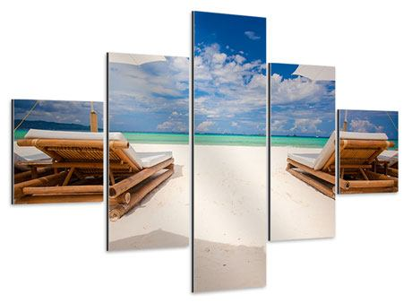 Aluminiumbild 5-teilig Liegen am Strand