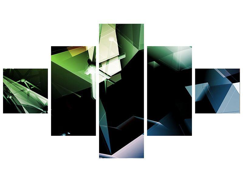 Aluminiumbild 5-teilig 3D-Polygon