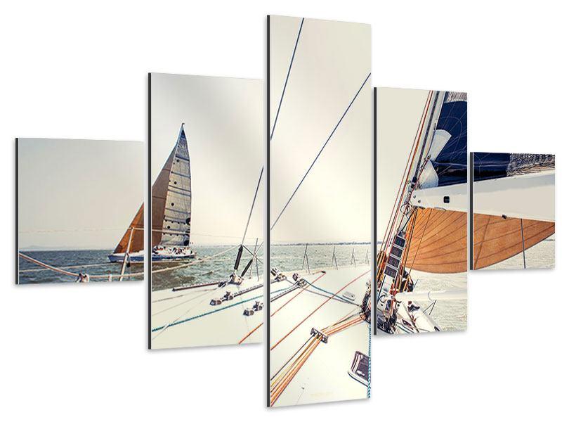 Aluminiumbild 5-teilig Segelyacht