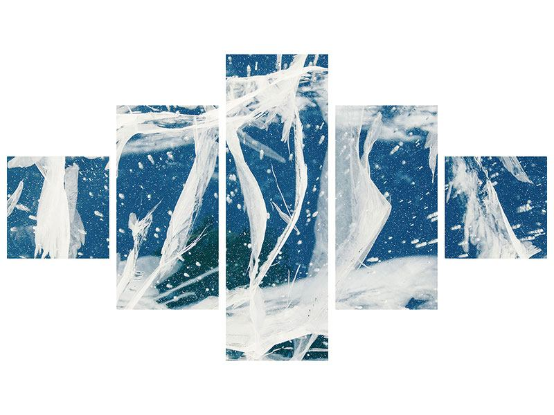 Aluminiumbild 5-teilig Eiskristalle