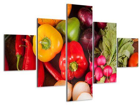 Aluminiumbild 5-teilig Gemüsefrische