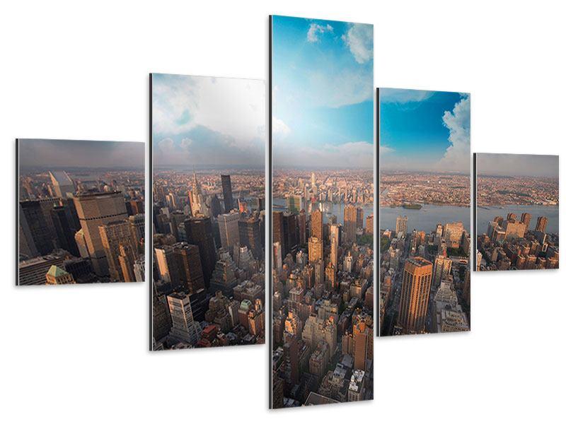 Aluminiumbild 5-teilig Skyline Über den Dächern von Manhattan