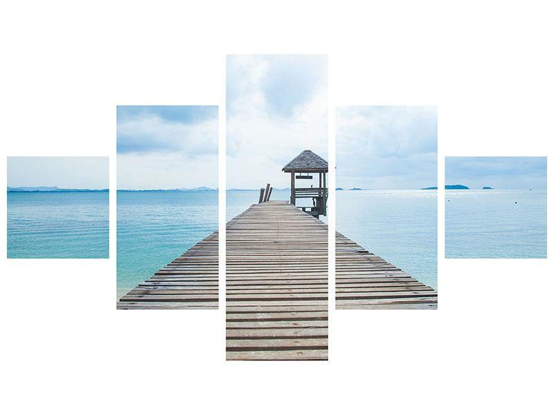 Aluminiumbild 5-teilig Ozean-Steg