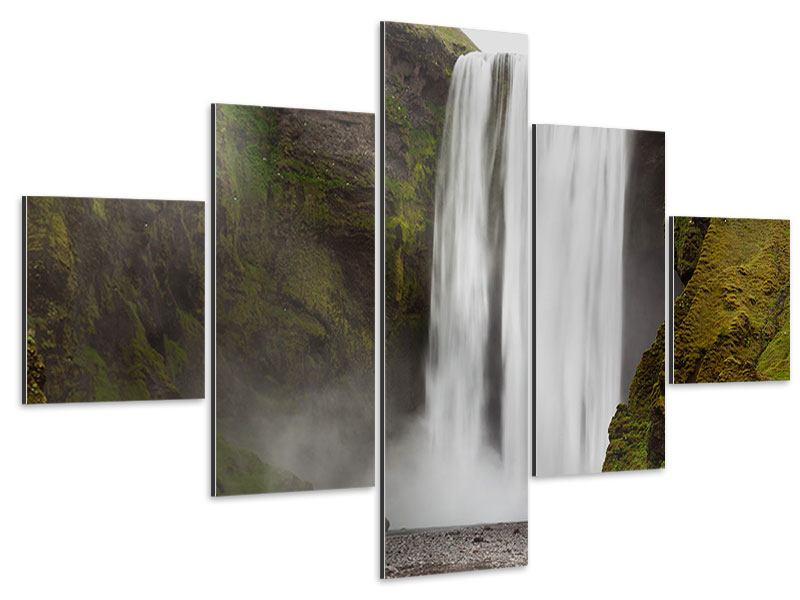 Aluminiumbild 5-teilig Skogafoss