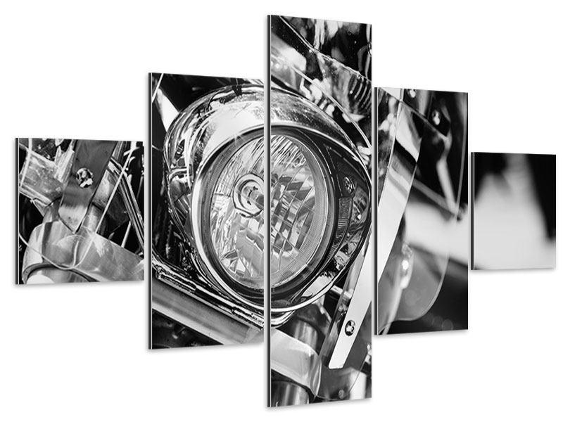 Aluminiumbild 5-teilig Motorrad Close Up