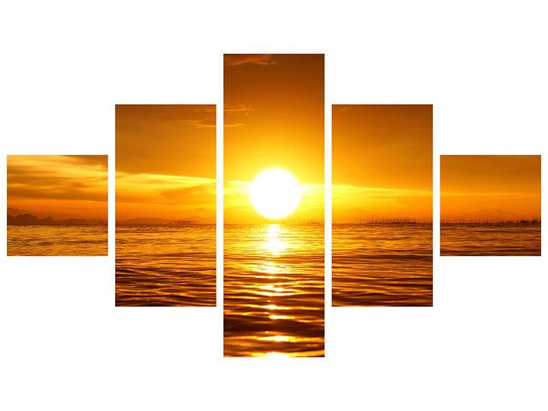 Aluminiumbild 5-teilig Glühender Sonnenuntergang am Wasser