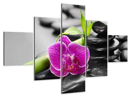 Aluminiumbild 5-teilig Feng-Shui-Orchidee