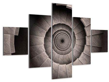 Aluminiumbild 5-teilig Steinwendeltreppe