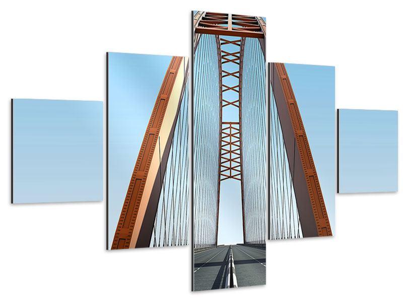 Aluminiumbild 5-teilig Brückenpanorama