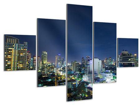 Aluminiumbild 5-teilig Skyline Nachts in Bangkok