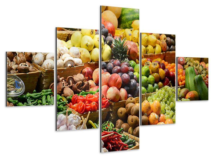 Aluminiumbild 5-teilig Obstmarkt