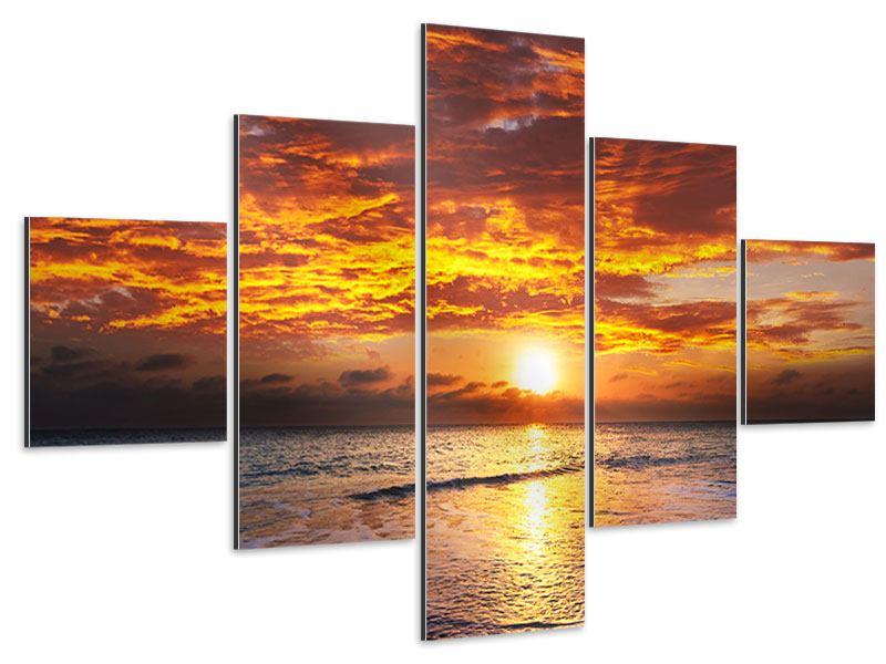 Aluminiumbild 5-teilig Entspannung am Meer