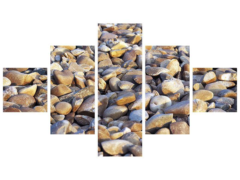 Aluminiumbild 5-teilig Strandsteine