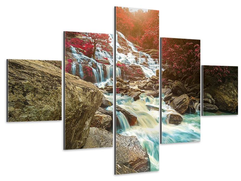 Aluminiumbild 5-teilig Exotischer Wasserfall