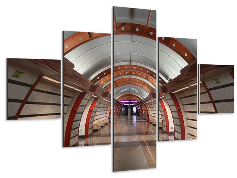 Aluminiumbild 5-teilig U-Bahn Station