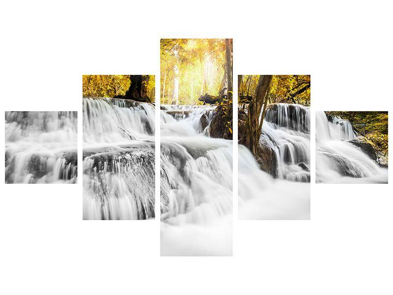 Aluminiumbild 5-teilig Wasser in Aktion