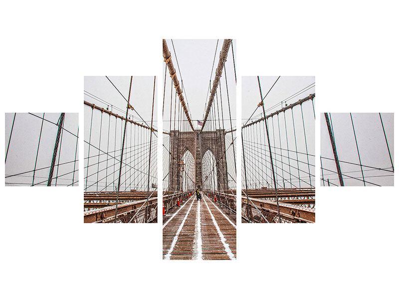 Aluminiumbild 5-teilig Auf der Brooklyn Bridge