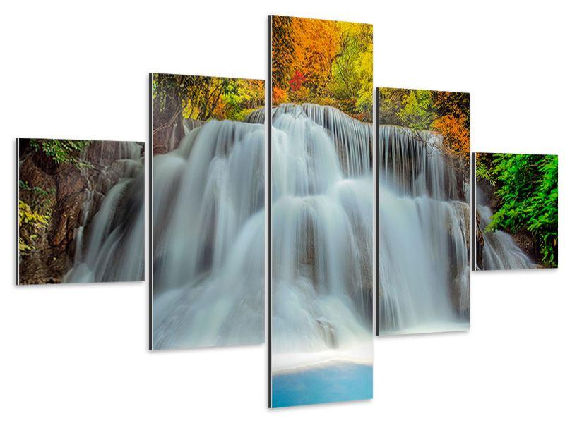 Aluminiumbild 5-teilig Fallendes Gewässer