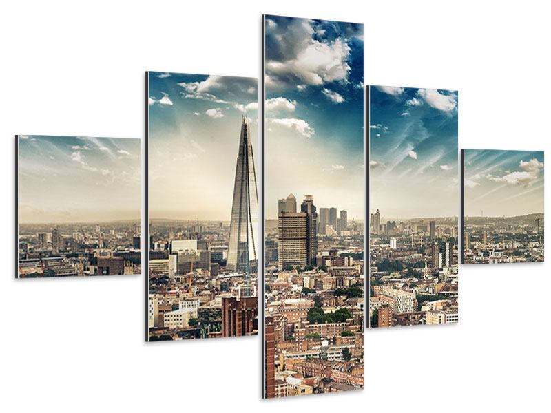 Aluminiumbild 5-teilig Skyline Über den Dächern von London
