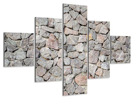 Aluminiumbild 5-teilig Grunge-Stil Mauer