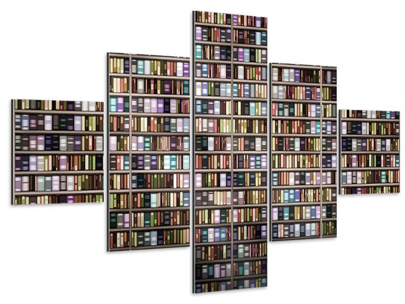 Aluminiumbild 5-teilig Bücherregal
