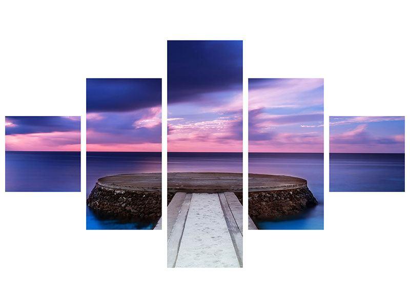 Aluminiumbild 5-teilig Meditation am Meer