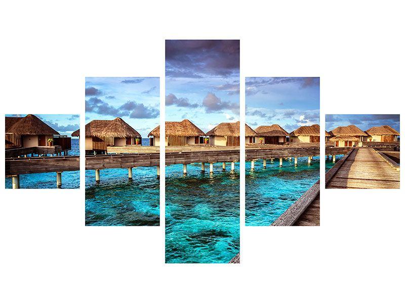 Aluminiumbild 5-teilig Traumhaus im Wasser