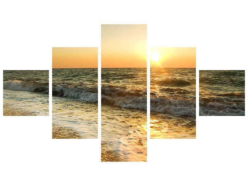 Aluminiumbild 5-teilig Sonnenuntergang am Meer