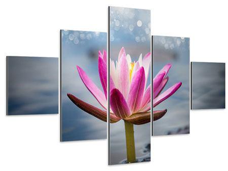 Aluminiumbild 5-teilig Lotus im Morgentau