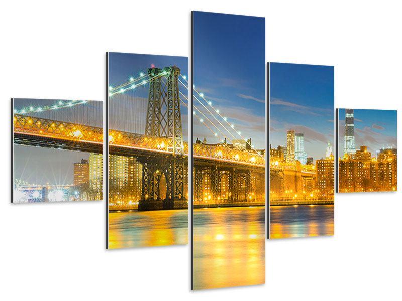 Aluminiumbild 5-teilig Brooklyn Bridge bei Nacht