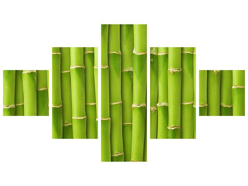 Aluminiumbild 5-teilig Bambuswand