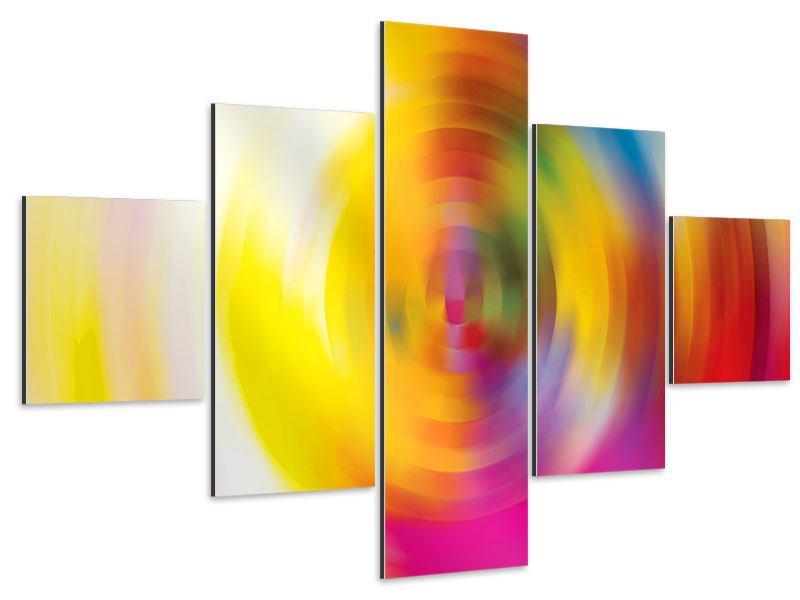 Aluminiumbild 5-teilig Abstrakte Farbkreise