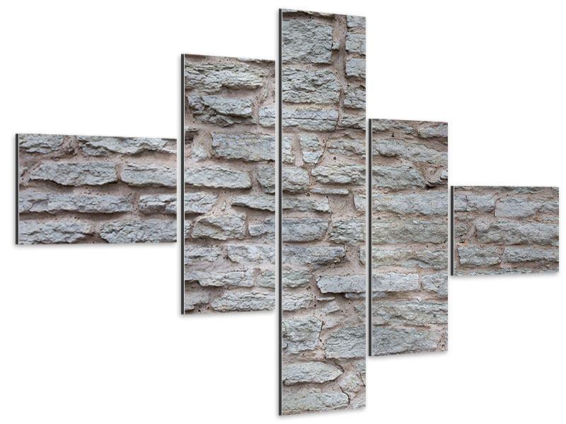 Aluminiumbild 5-teilig modern Steinmauer