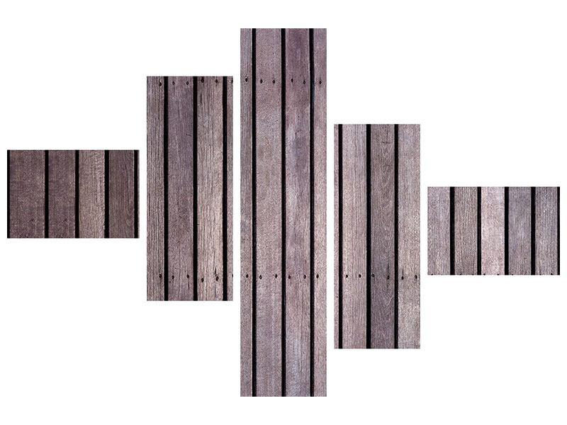 Aluminiumbild 5-teilig modern Holzwand