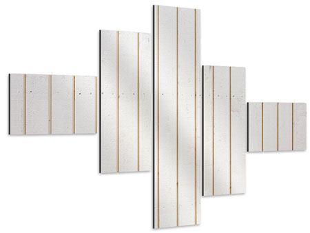 Aluminiumbild 5-teilig modern Mediterranes Holz