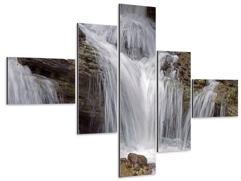 Aluminiumbild 5-teilig modern Wasserfall XXL
